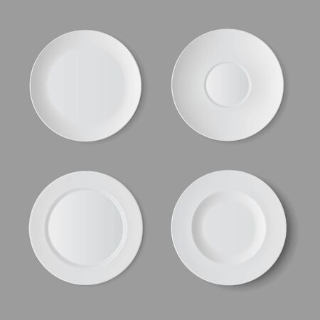 setting: Tableware Set of White Empty Plates Top View Isolated on Background. Table Setting