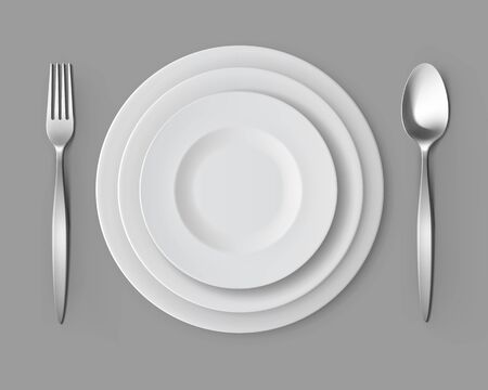 table setting: Set of White Empty Round Plates with Fork and Spoon Top View Isolated on Background. Table Setting