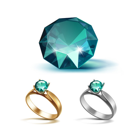 pellucid: Set of Gold and Siver Engagement Rings with Emerald Shiny Clear Diamond Close up Isolated on White Background