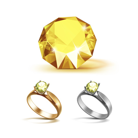 Set of Gold and Siver Engagement Rings with Yellow Shiny Clear Diamond Close up Isolated on White Background Illustration