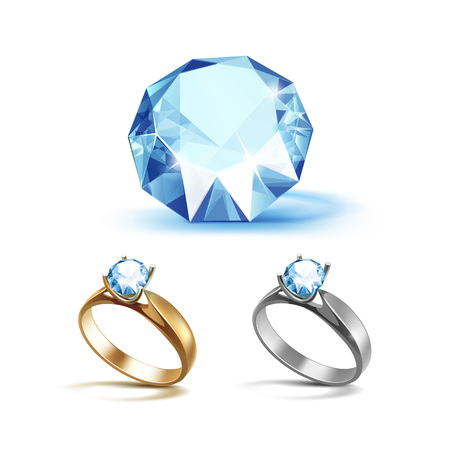 limpid: Set of Gold and Siver Engagement Rings with Light Blue Shiny Clear Diamond Close up Isolated on White Background Illustration