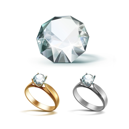 Set of Gold and Siver Engagement Rings with White Shiny Clear Diamond Close up Isolated on White Background