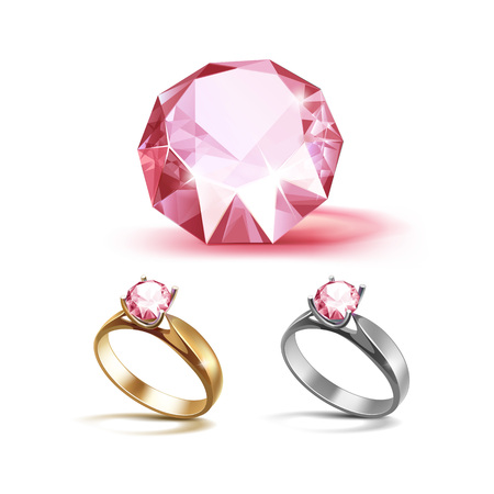 Set of Gold and Siver Engagement Rings with Pink Shiny Clear Diamond Close up Isolated on White Background