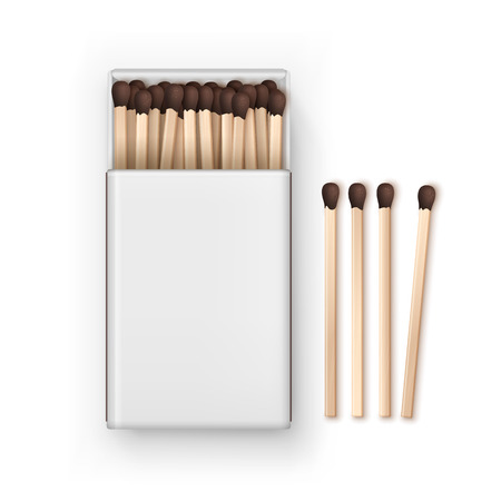 firebug: Opened Blank Box Of Brown Matches Top View Isolated on White Background