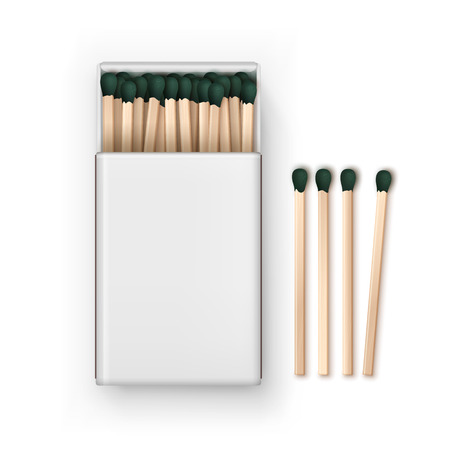 Opened Blank Box Of Green Matches Top View Isolated on White Background Illustration