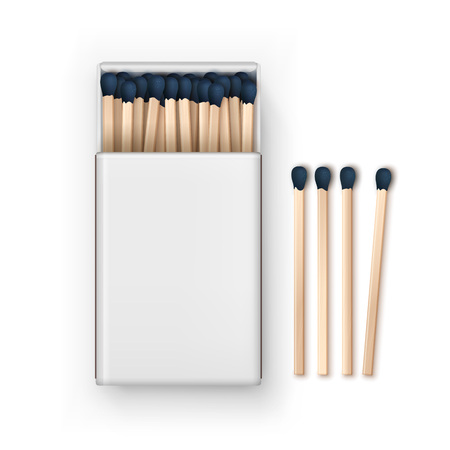 match: Vector Opened Blank Box Of Blue Matches Top View Isolated on White Background