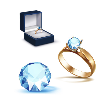 limpid: Vector Gold Engagement Ring with Light Blue Shiny Clear Diamond in Blue Jewelry box Close up Isolated on White Background