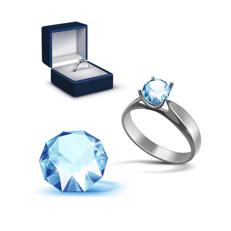 jewelry box: Vector Silver Engagement Ring with Light Blue Shiny Clear Diamond in Blue Jewelry box Close up Isolated on White Background
