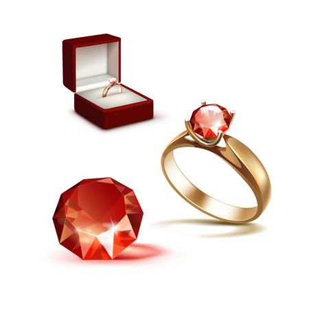 jewelry box: Vector Gold Engagement Ring with Red Shiny Clear Diamond in Red Jewelry box Close up Isolated on White Background