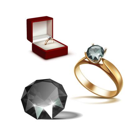 diamante negro: Anillo de compromiso de oro del vector con el Negro Brillante diamante claro en el cuadro de joyería rojo cerca aisladas sobre fondo blanco Vectores