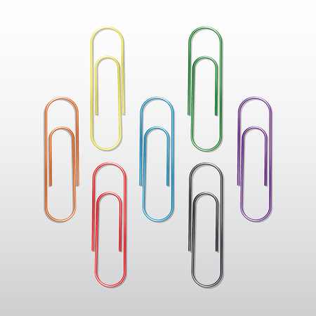 Vector Set of Colored Paper Clips Isolated on White Background