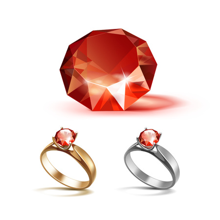 Vector Set of Gold and Siver Engagement Rings with Red Shiny Clear Diamond Close up Isolated on White Background