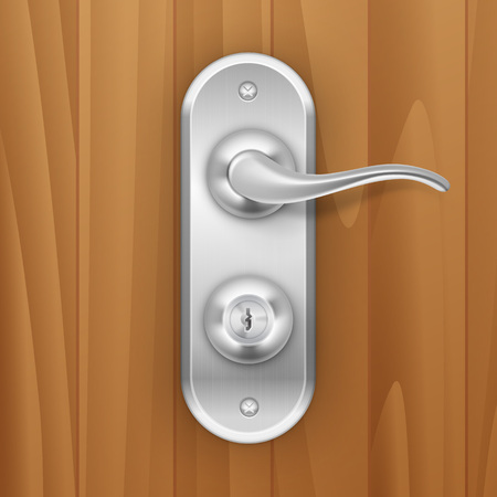 steel door: Vector Metal Door Handle Lock Isolated on Wood Wooden Background Illustration