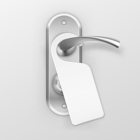 not open: Vector Metal Door Handle Lock with Hanger Isolated on Background
