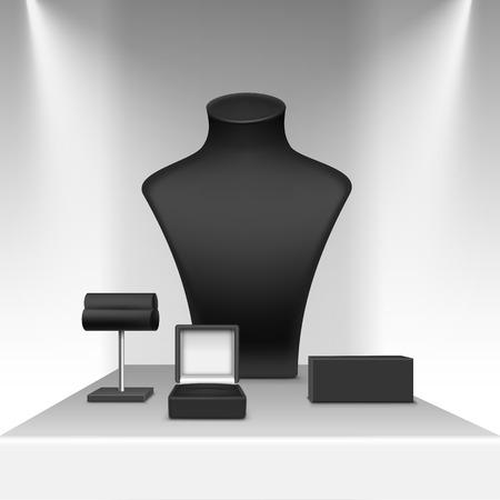 Vector Set de boucles d'oreilles collier noir et bracelet Support pour bijoux avec Boîte à bijoux Close up isolé dans Showcase blanc