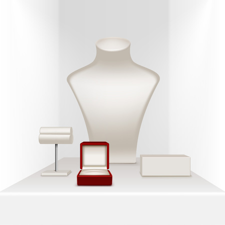 earrings: Vector Set Of White Necklace Earrings and Bracelet Stand for jewelry with Red Jewellery Box Close up Isolated in White Showcase Illustration