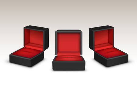 jewels: Vector Set of Empty Red and Black Velvet Opened gift jewelry boxes Close up Isolated on White Background Illustration