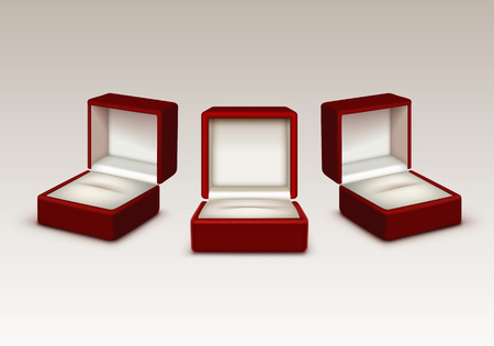 jewelry boxes: Vector Set of Empty Red and White Velvet Opened gift jewelry boxes Close up Isolated on White Background