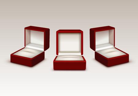 Vector Set von leeren Red and White Velvet Geöffnete Geschenk Schmuckschatullen Close up auf weißen Hintergrund