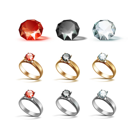 diamonds isolated: Vector Set of Gold and Siver Engagement Rings with Red Black and White Shiny Clear Diamonds Isolated on White Background