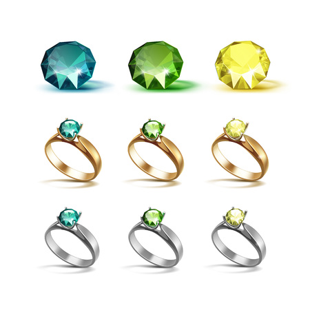 limpid: Vector Set of Gold and Siver Engagement Rings with Emerald Green and Yellow Shiny Clear Diamonds Isolated on White Background Illustration