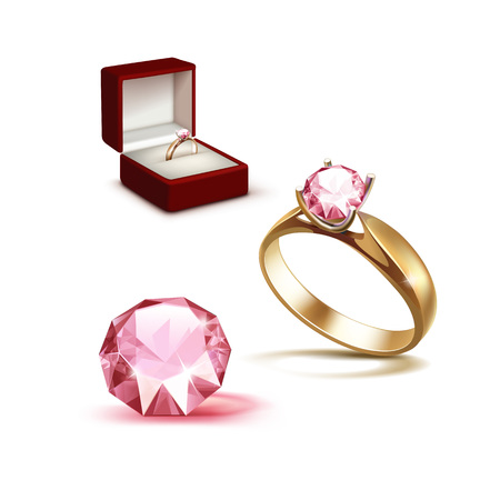 jewelry box: Vector Gold Engagement Ring with Pink Shiny Clear Diamond in Red Jewelry box Close up Isolated on White Background