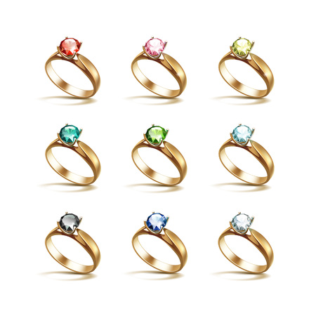 Vector Set of Gold Engagement Rings with Colored Red Pink Blue Turquoise Green Black and White Shiny Clear Diamonds Isolated on White Background