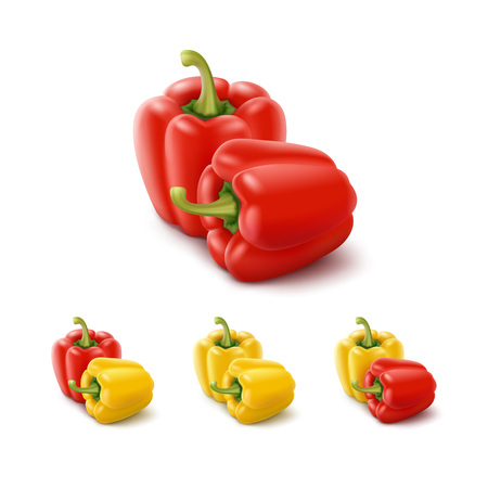 Vector Set of Colored Yellow and Red Sweet Bulgarian Bell Peppers, Paprika Isolated on White Background