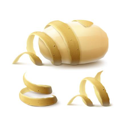Potato Vector Set of Raw New Yellow pelées entières avec le zeste torsadée Gros plan isolé sur fond blanc