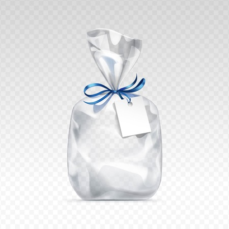 Vector Empty Transparent plastic gift bag for package design with blue shiny ribbon and blank white label Close up Isolated on Transparent  Background