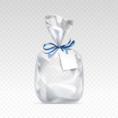 Vector Lege transparante plastic zak cadeau voor collo met blauwe glimmende lint en blanco white label close-up geïsoleerd op transparante achtergrond