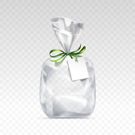 Vector Lege transparante plastic zak cadeau voor collo met groene glanzende lint en blanco white label close-up geïsoleerd op transparante achtergrond