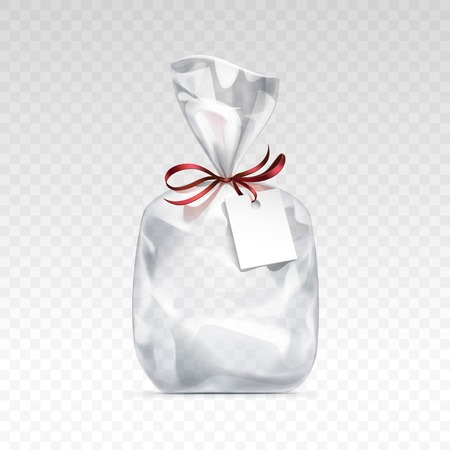 cellophane: Vector Empty Transparent plastic gift bag for package design with red shiny ribbon and blank white label Close up Isolated on Transparent  Background