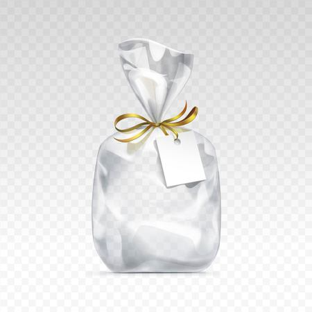 Vector Empty Transparent plastic gift bag for package design with golden ribbon and blank white label Close up Isolated on Transparent  Background