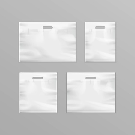 reusable: Vector Set of Different White Empty Reusable Plastic Shopping Bags with Handles for package design Close up Isolated on Background