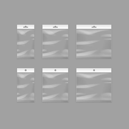empty pocket: Vector Set of Sealed Empty Transparent Plastic Pocket Bags with Hang Slot Close up Isolated on Background Illustration