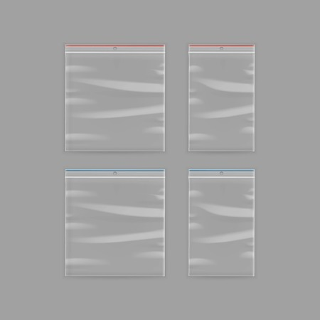 Vector Set of Sealed Empty Transparent Plastic Zipper Bag Close up Isolated on Background Illustration