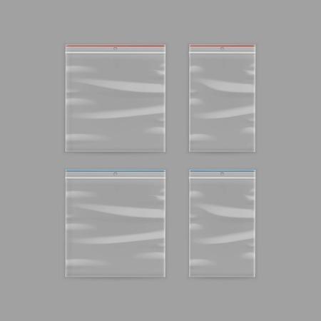 Vector Set de Sealed vide en plastique transparent Zipper Close up isolé sur fond