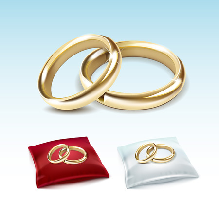 white satin: Vector Set of Gold Wedding Rings on Red White Satin Pillow Isolated on White Background Illustration