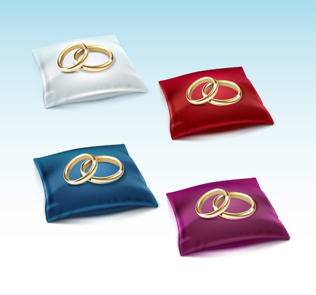 red white blue: Vector Set of Gold Wedding Rings on Red White Blue Purple Satin Pillow Isolated on White Background Illustration