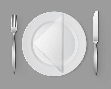 napkin: Vector White Empty Flat Round Plate with Silver Fork and Knife and White Folded Triangular Napkin Top View Isolated on Background. Table Setting Illustration