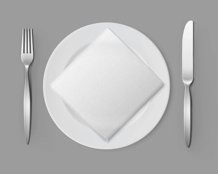 setting table: Vector White Empty Flat Round Plate with Silver Fork and Knife and White Folded Square Napkin Top View Isolated on Background. Table Setting