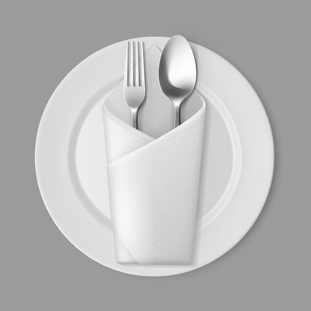 table setting: Vector White Empty Flat Round Plate with Silver Fork and Spoon and White Folded Envelope Napkin Top View Isolated on Background. Table Setting Illustration