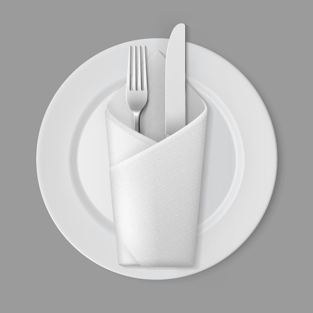table setting: Vector White Empty Flat Round Plate with Silver Fork and Knife and White Folded Envelope Napkin Top View Isolated on Background. Table Setting Illustration