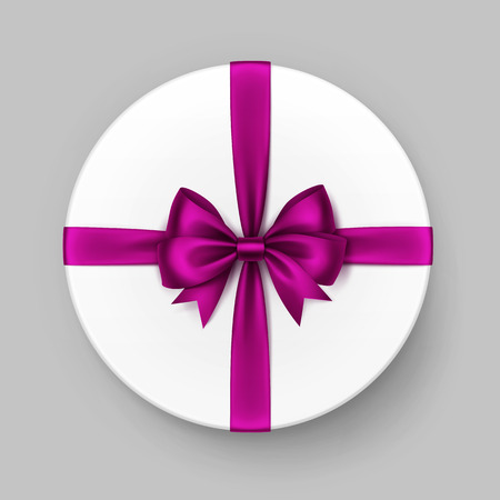 satin round: Vector White Round Gift Box with Shiny Magenta Dark Pink Purple Satin Bow and Ribbon Top View Close up Isolated on Background