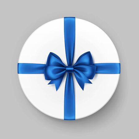 blue ribbon: Vector White Round Gift Box with Shiny Blue Satin Bow and Ribbon Top View Close up Isolated on Background