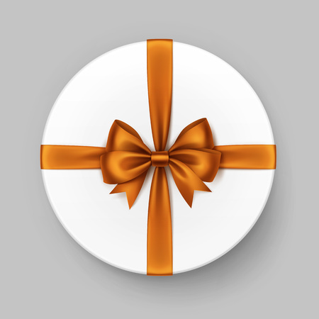 close: Vector White Round Gift Box with Shiny Orange Satin Bow and Ribbon Top View Close up Isolated on Background Illustration