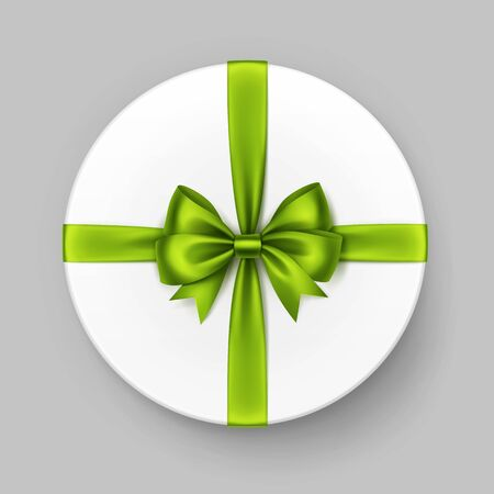 circular: Vector White Round Gift Box with Shiny Light Green Lime Satin Bow and Ribbon Top View Close up Isolated on Background Illustration