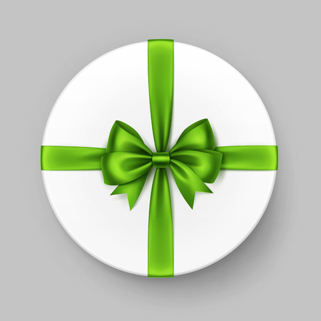 satin round: Vector White Round Gift Box with Shiny Light Green Satin Bow and Ribbon Top View Close up Isolated on Background