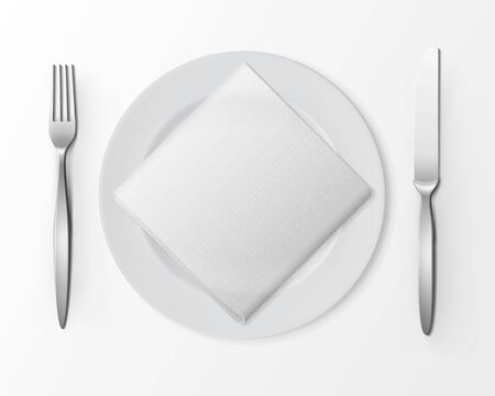 knife fork: Vector White Empty Flat Round Plate with Silver Fork and Knife and White Folded Square Napkin Top View Isolated on White Background. Table Setting Illustration
